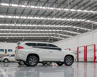automotive vehicle dealership center flooring